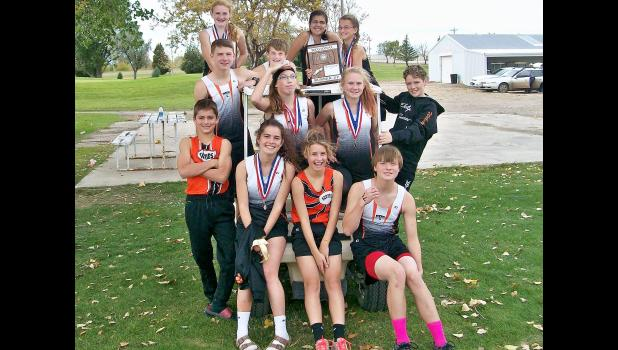 The 2017 Philip Scotties' cross country team. Back row from left: Bailey Bierle, Reese Henrie, Kobie Davis and Rehgan Larson. Middle row: Keldon Fitzgerald, Grace Pekron, Anna Belle McIlravy and Wakely Burns. Front: Layton Terkildsen, Dilyn Terkildsen, Quinn Terkildsen and Ethan Ferguson. Not pictured: manager Jasmine Ferguson.
