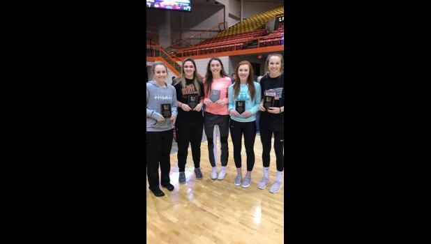 Girls All-Tournament Team ... Sydnie Schauer, Shianne Price, Mikenzy Miller, Jayden Shoemaker, and Aiyana Byrd.