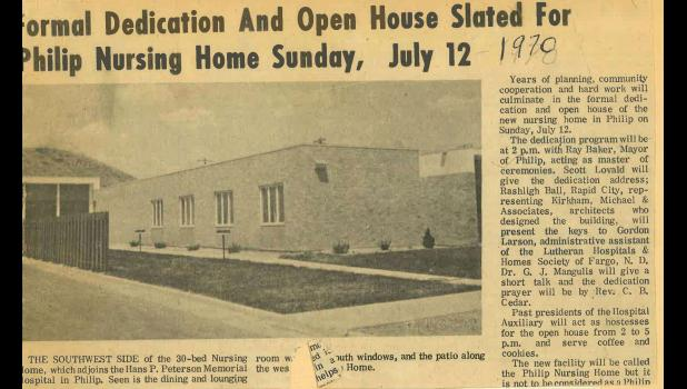 This old newspaper clipping announced the official opening of the new Philip Nursing Home back on July 12, 1970.