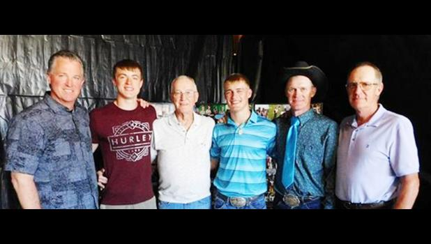 """The Wests are a pole vaulting family, with all of them together during the 2017 state meet. From left, great uncle Pat West (13'1""""), cousin Gavin West (Sturgis, 12'3"""" at state), great grandfather Mike West (11'6""""), Cooper West (Philip and region record 14'6""""), father Branden West (13'6""""), and grandfather Doug West (11'0"""")."""