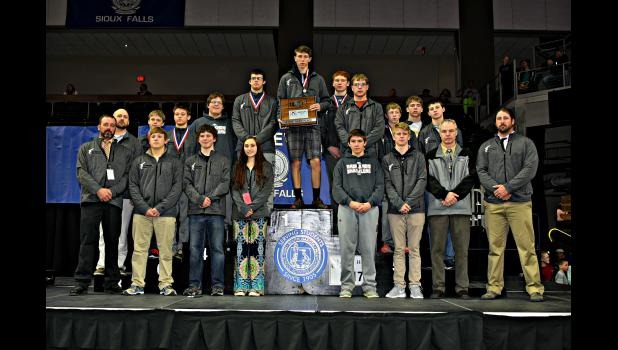 "Philip Area ""Badlands Brawlers"" wrestling team at the 2017 state tournament"
