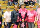 The annual Dig Pink Week was highlighted by the special volleyball evening, Thursday, Oct. 6. There were many fundraising activities to help raise awareness and funds to find a cure for breast cancer. Special guests were honored between games. Those cancer survivors who were bold enough to come forward were honored, and given gifts. From left is FCCLADig Pink project head Mandy Burns, Kathy Gittings, Kara Parsons, Pam Clements, Val Schulz and Marcia West.
